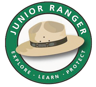 An illustration of a ranger hat surrounded by the words, Junior Ranger, Explore, Learn, Protect