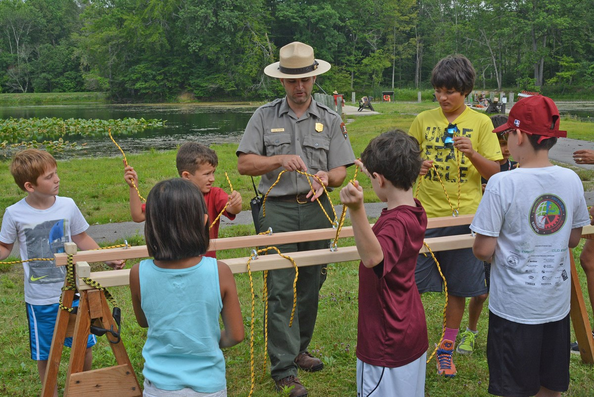 ranger leading a program for kids
