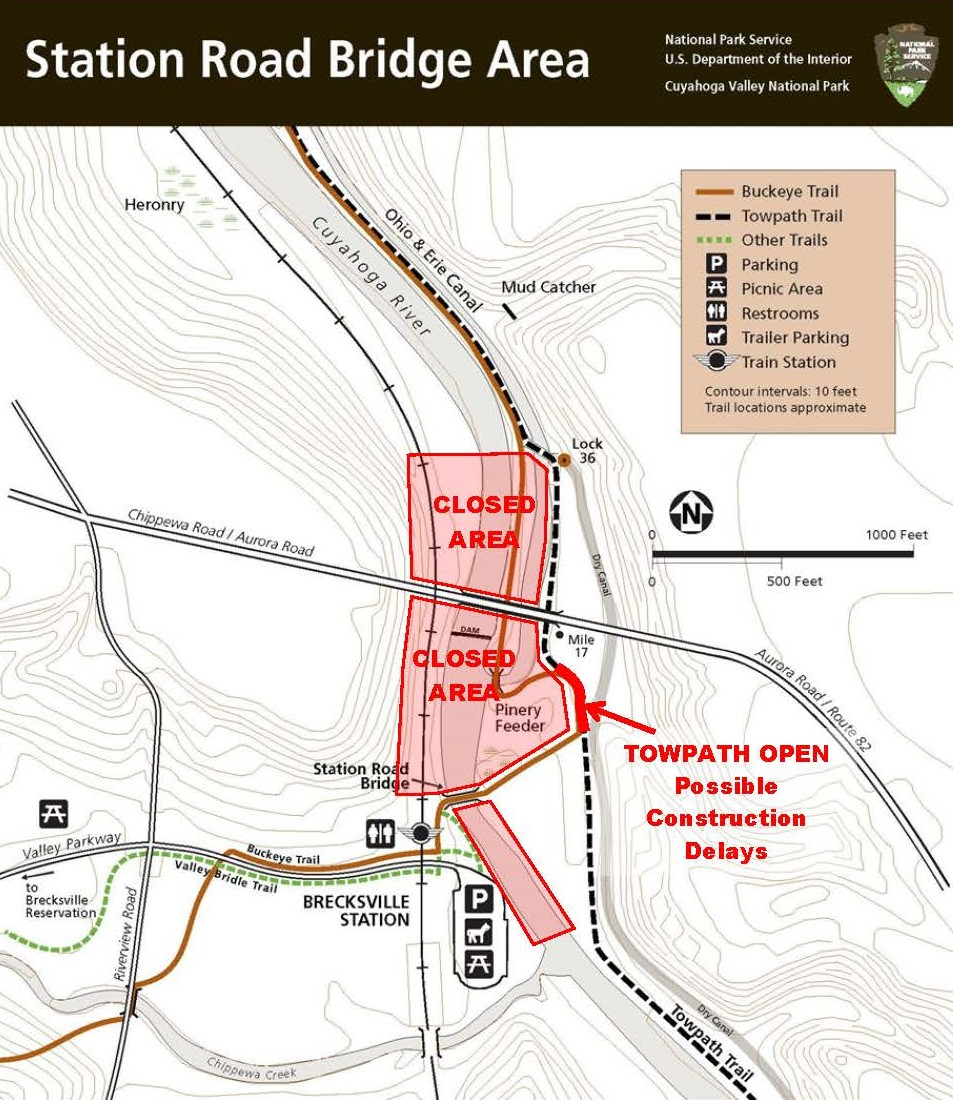 A map of Station Road Bridge Trailhead showing the area closed for dam deconstruction.