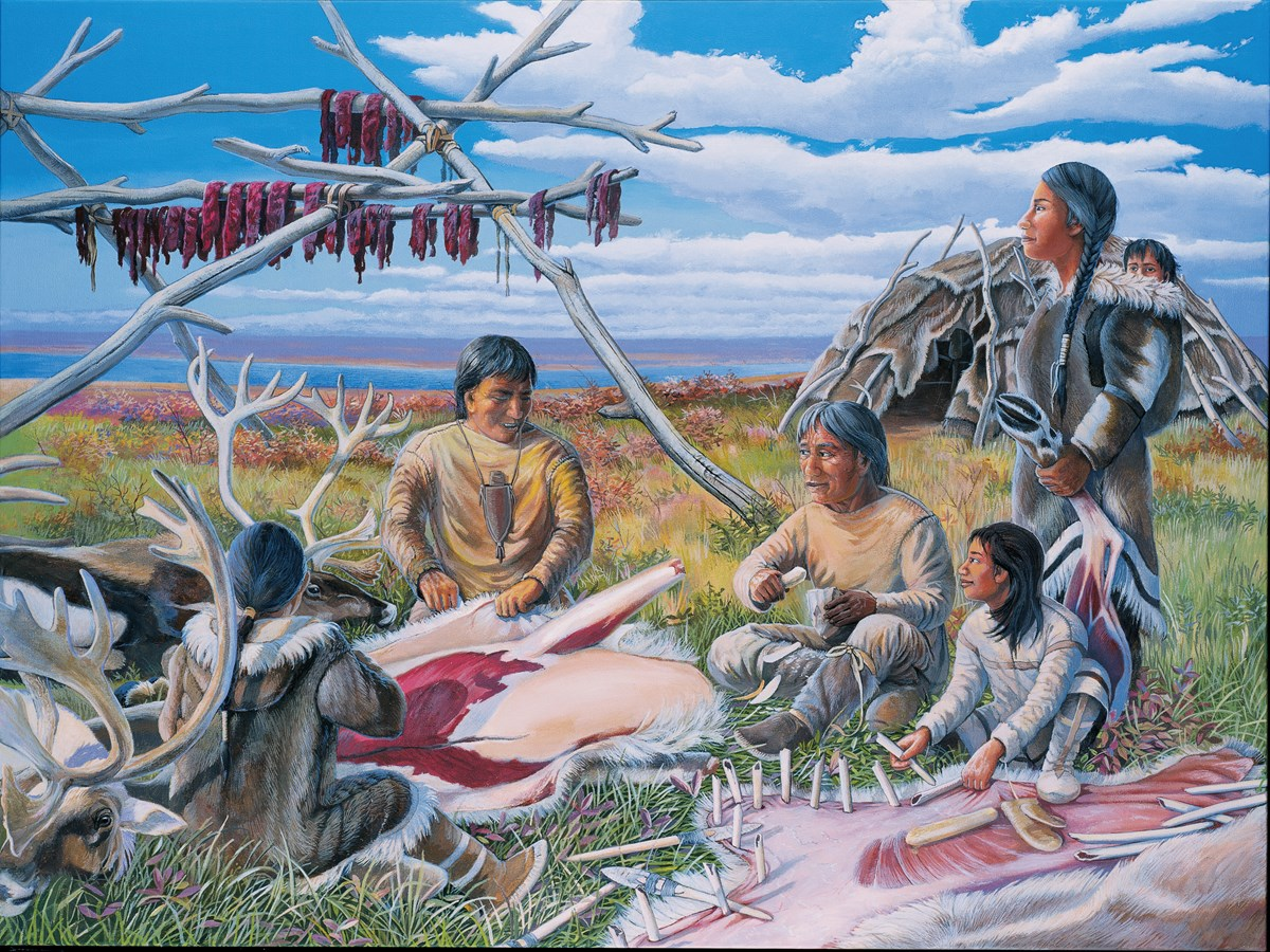 A painting depicting Native American life in the ancient Cuyahoga River Valley