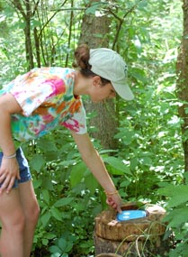 Woman in tye die shirt and shorts finds a blue questing box hidden on a log in the woods.