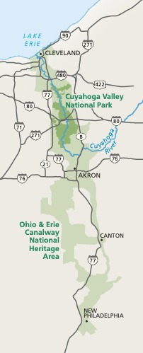 A Map Of The Area Of Cuyahoga Valley National Park (CVNP) As Well As The Areas Immediately Surrounding It. - A map of the area of Cuyahoga Valley National Park (CVNP) as well as the areas immediately surrounding it.
