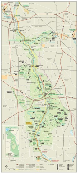 Scaled down version of the park wide map showing the boundaries of Cuyahoga Valley National Park