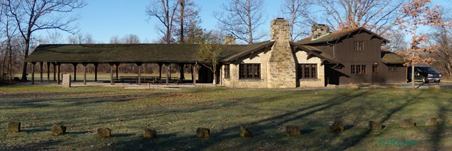 A west facing view of the Ledges picnic Shelter.