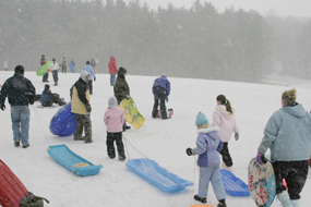 Sledding on the Kendall Hills