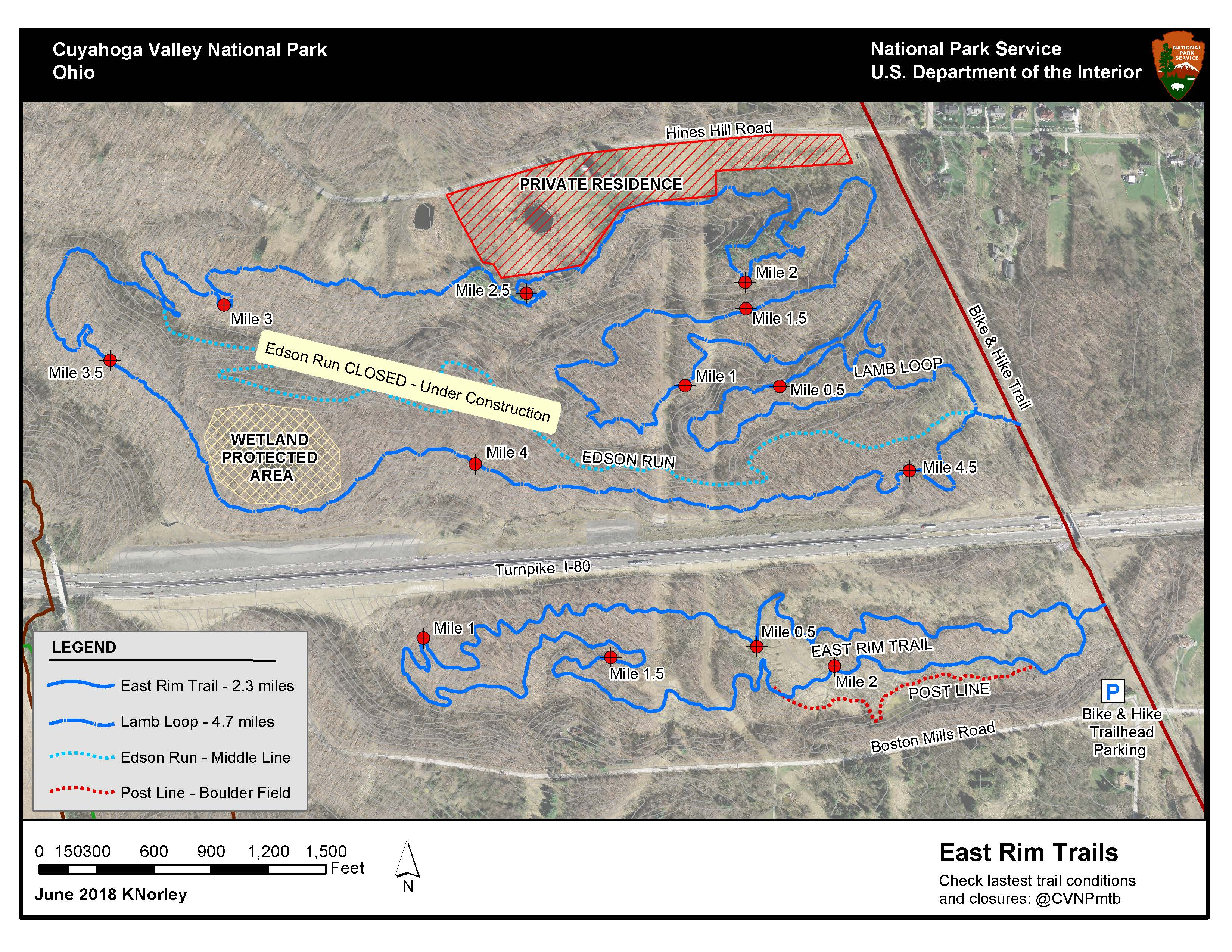 Bike Trails In Ohio Map.East Rim Trail System Cuyahoga Valley National Park U S National