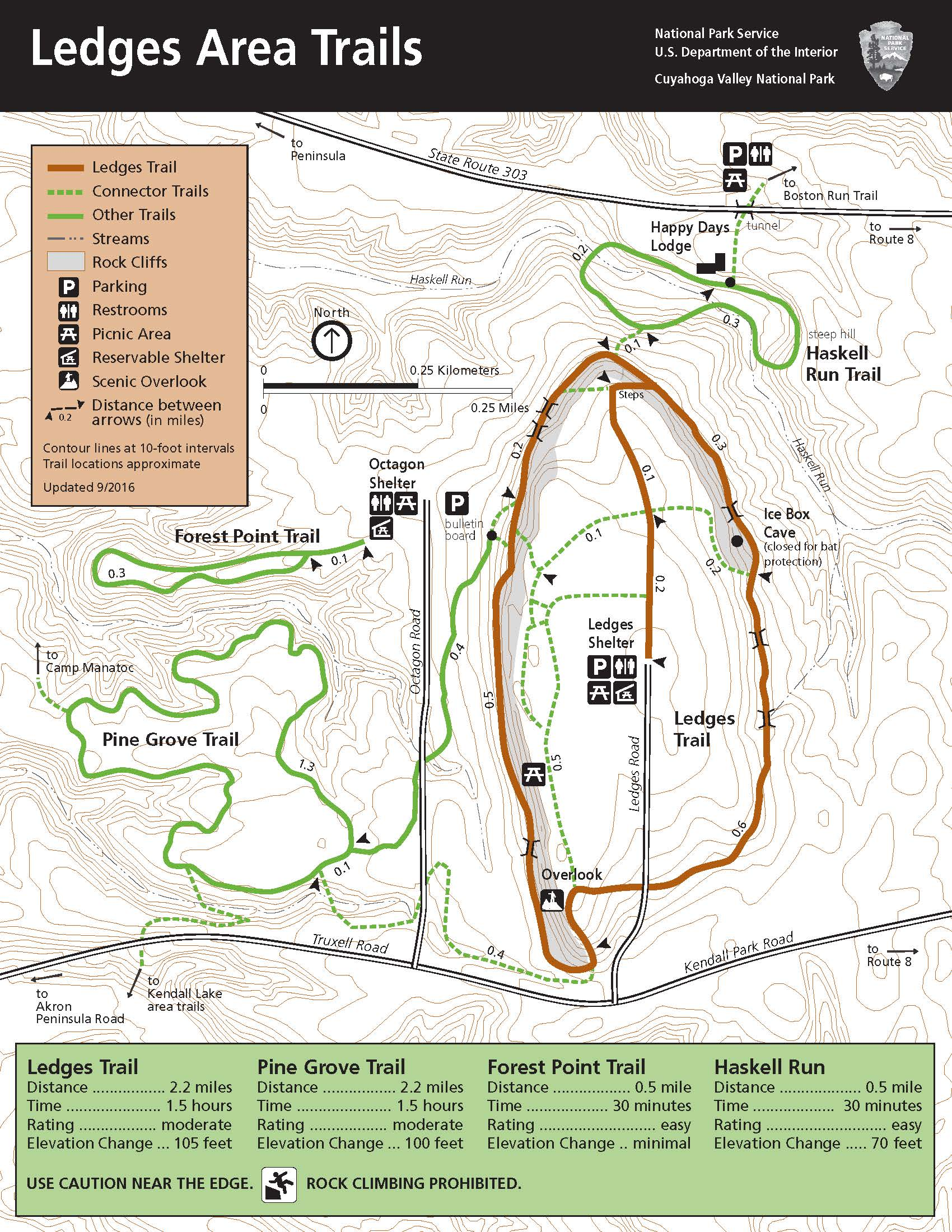 Map Of The Ledges Area And Trails - Map of the Ledges area and trails