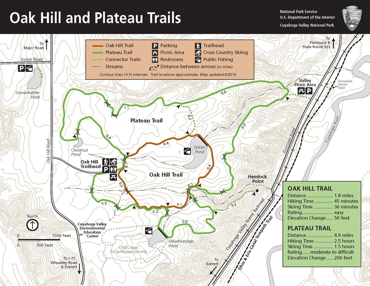 Map of the Oak Hill area trails.