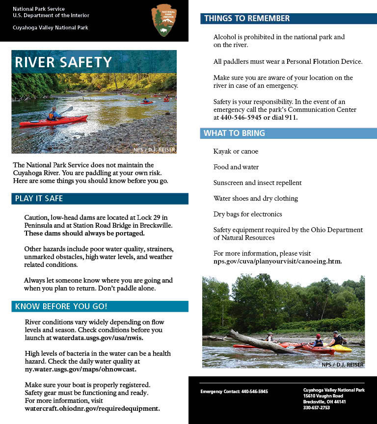 Photo of the river safety card listing river tips