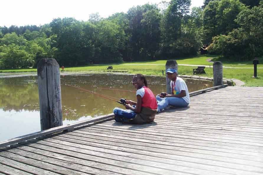 Fishing off a dock in CVNP