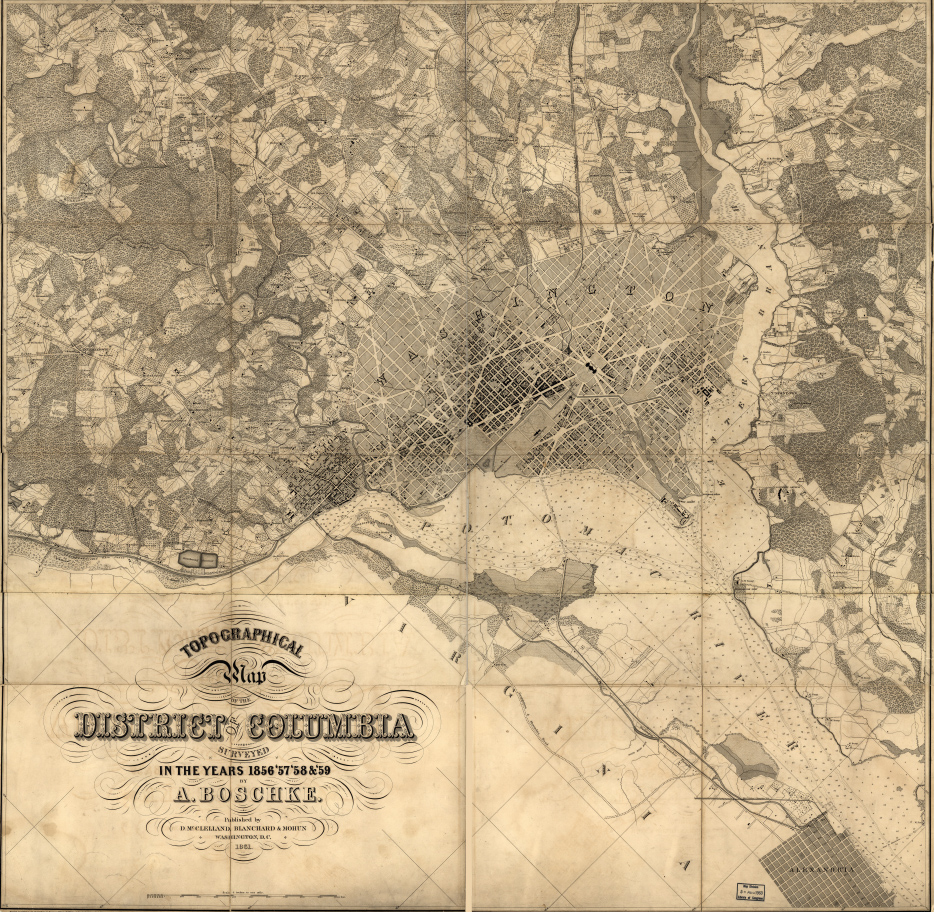 1861 Topographical Map Of Dc
