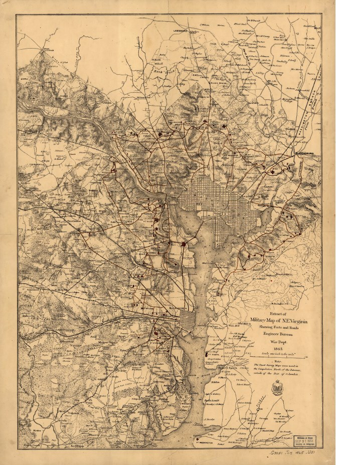 1865 Map Extract from Military Map of NE Virginia
