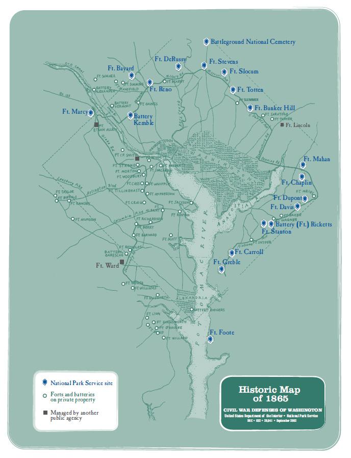 Historic Maps Civil War Defenses Of Washington US National - Us map 1865