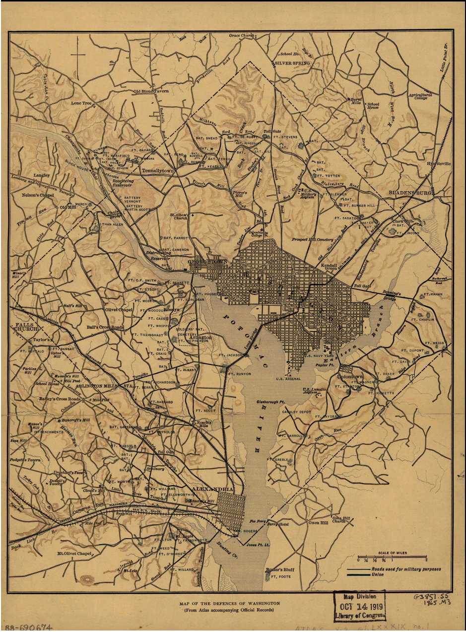Historic Maps Civil War Defenses Of Washington US National - Historic us maps