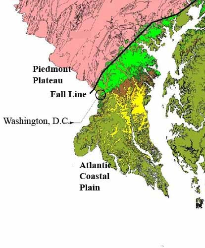 map showing piedmont plateau and atlantic coastal plain