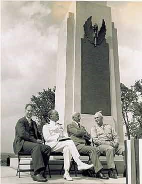 Orville Wright at the dedication of the Wright Memorial, Dayton, Ohio, 1940.