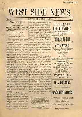 "An image of an old newspaper with the title ""West Side News"" at the top."