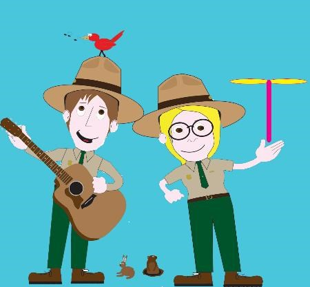 Two caricature rangers, one on left with a guitar and a bird on his hat and a ranger on the right holding a play helicopter.