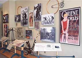 Replicas of Wright bicycles on display.