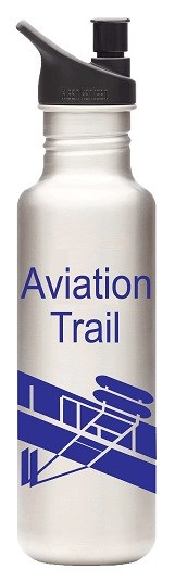 "A Steel Water Bottle with black cap and ""Aviation Trail"" in blue letters and a blue drawing of a Wright glider."