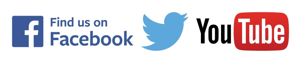 The facebook logo on left, twitter bird logo in center and You Tube logo on right.