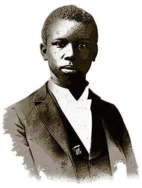A sketched drawing of a young Paul Laurence Dunbar.