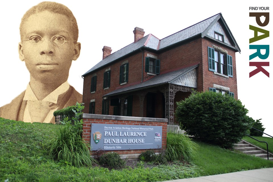 A portrait of Paul Laurence Dunbar on the left, behind the two-story brick house he once owned.