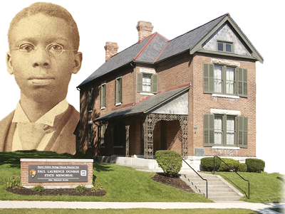Portrait of Paul Laurence Dunbar behind Dunbar House State Memorial