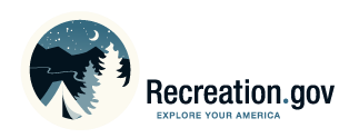 Recreation.Gov Logo showing a tent next to trees under the night sky