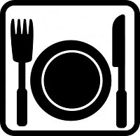 A dinner plate with a fork to the left and a knife to the right.