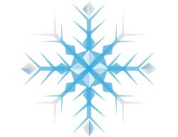 A snowflake caricature with blue shades