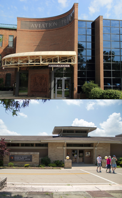 Top image shows a large brick building, bottom image shows a one-level stone building