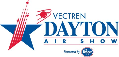 Dayton Air Show logo with a large star on the left showing three airplanes shooting up out of it next to a circle with swoops going around it.