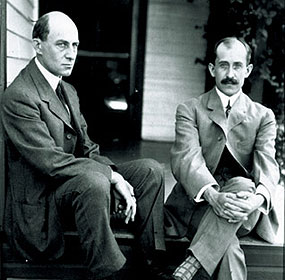 Wilbur and Orville Wright on porch at 7 Hawthorne Street.