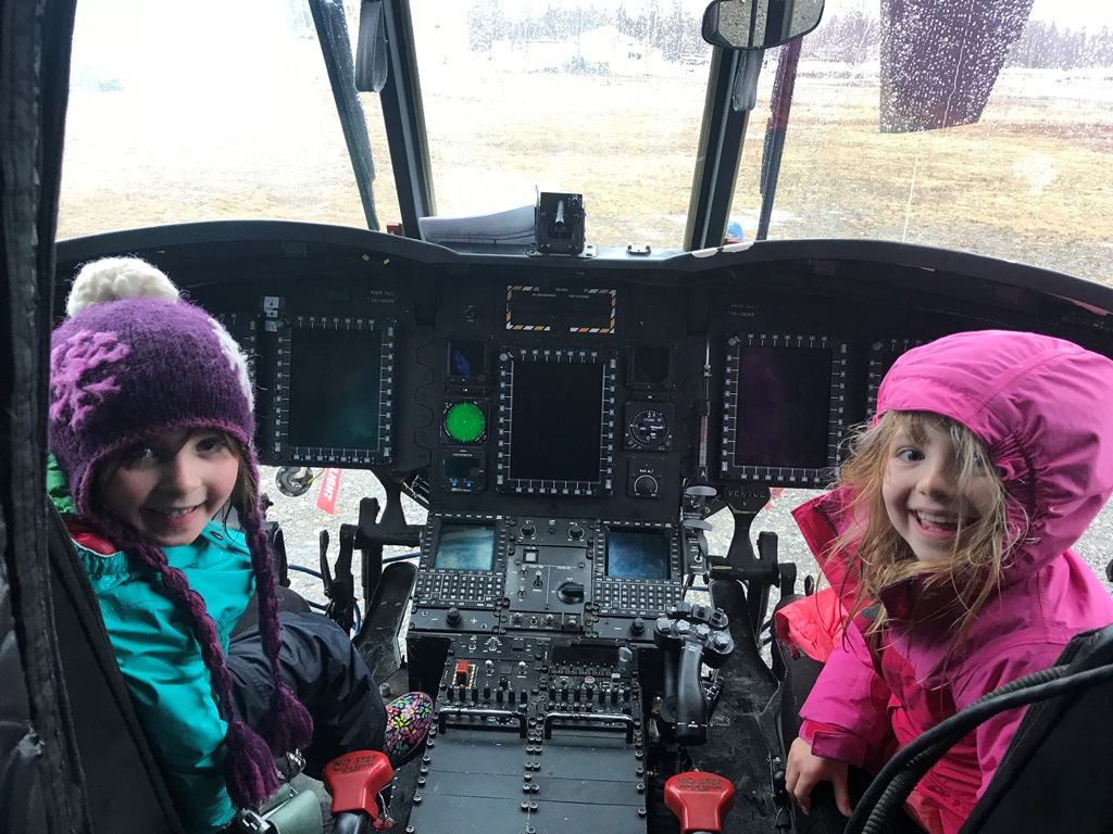 Two future pilots visit the Chinook cockpit