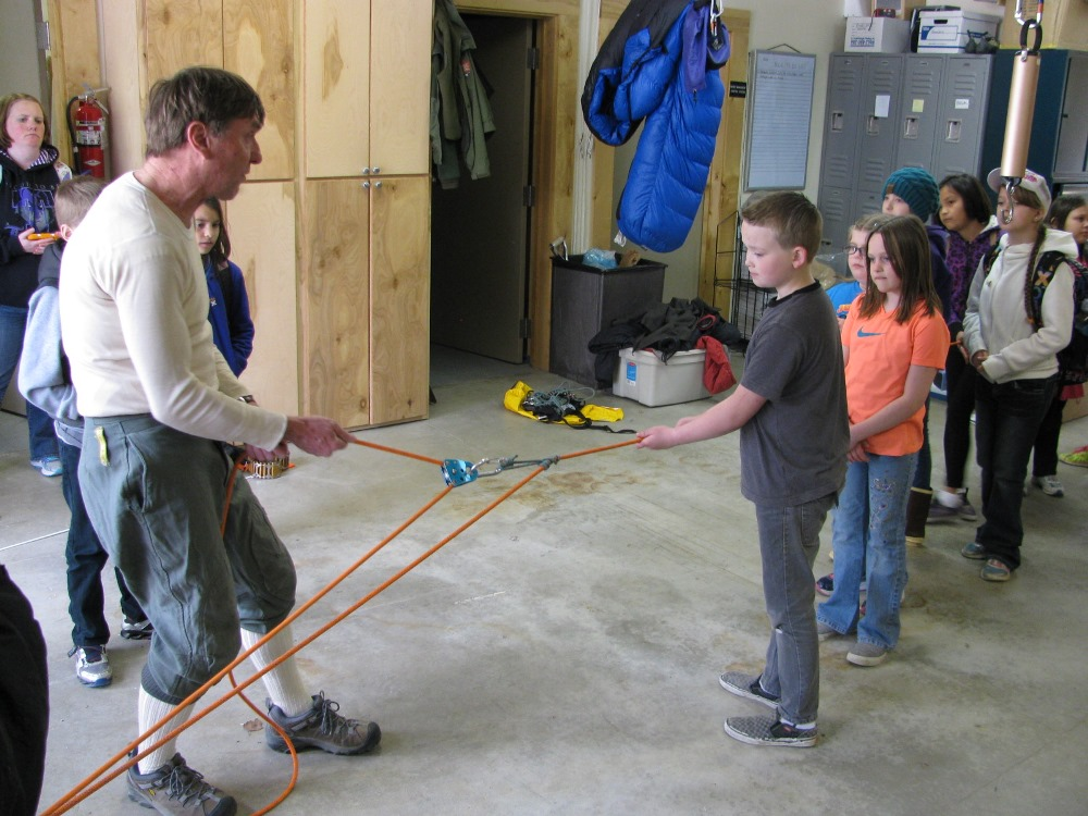 Ranger demonstrates a rope and pulley system