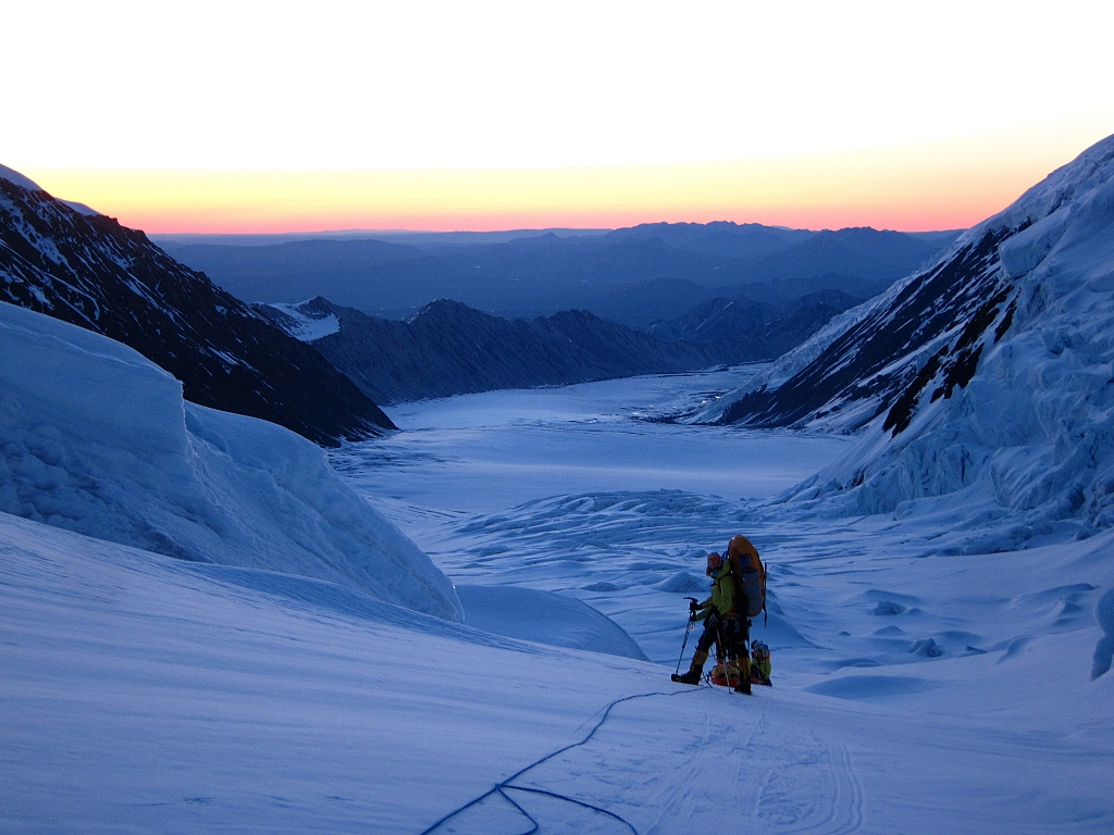 Finding a way through the Great Icefall on the Muldrow Glacier at 2 AM.