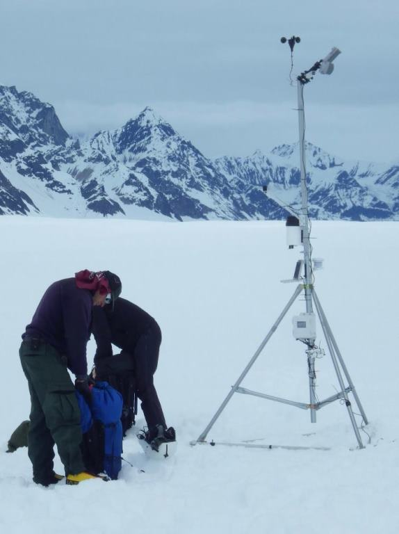 Monitoring equipment on the Kahiltna Glacier