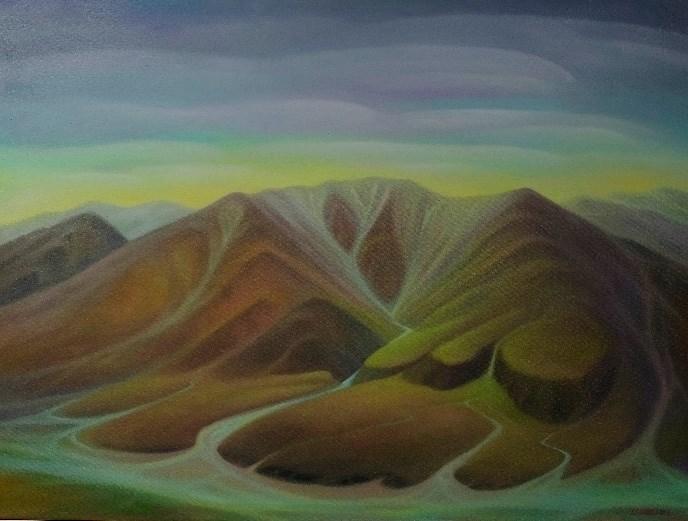 Big Bend at Twilight Original Mini Watercolor