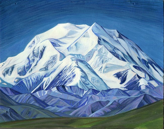 painting of a huge snowy mountain
