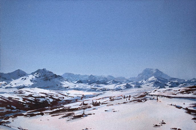 """Denali Down the Park Road, March 26"" (Oil on paper)"