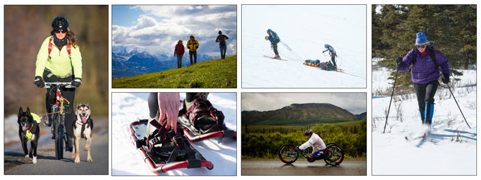 Six photographs of people cycling, hiking, snowshoeing, and skiing