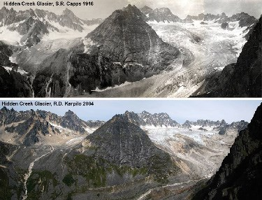 Comparison photos of Hidden Glacier