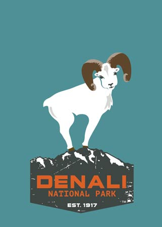 "a cartoon sheep standing on a stylized mountain, with the words ""Denali National Park, established 1917"" on it"