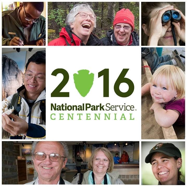 Photo montage of faces surrounding graphic for 2016 NPS Centennial