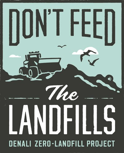 a sign that says don't feed the landfills