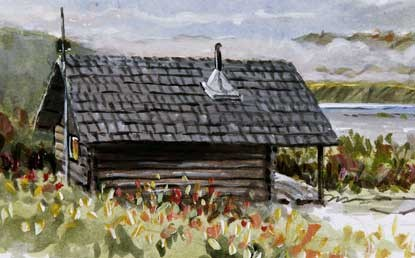 painting of a log cabin