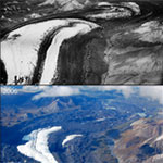 two images of one glacier, taken 50 years apart and showing significant shrinking of it