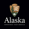 "black square with national park service arrowhead logo and the word ""Alaska"""