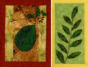 two quilted squares depicting alder and willow leaves